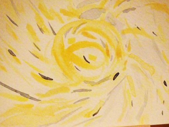 cropped yellow lifeforce swirl artwork by Lorraine Williams